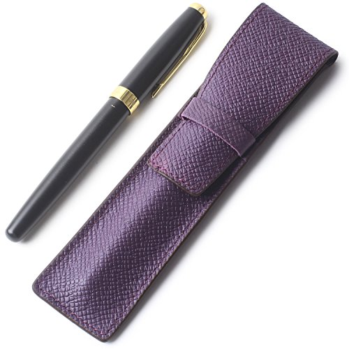 Borgasets Full Grain Leather Single Pen Case Holder Pencil Bag for Men Women (Grain Leather Single)