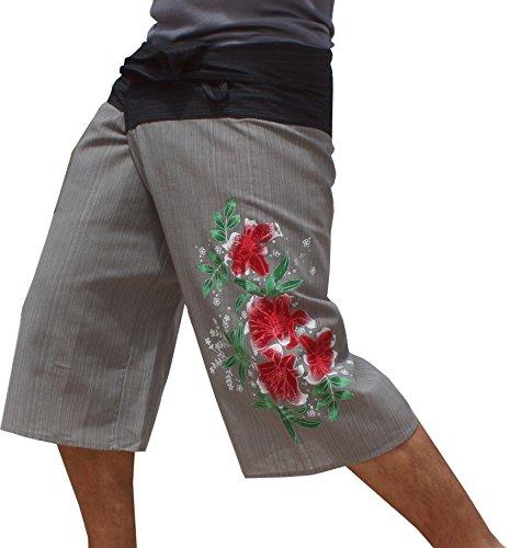 Raan Pah Muang RaanPahMuang Striped Cotton Two Tone Hibiscus Flowers Hand Paint Fisherman Capri, Medium, Black Gray