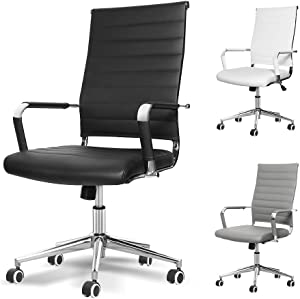 Okeysen Office Desk Chair, Ergonomic High Back Ribbed, Height Adjustable Tilt, Upgraded Seat with Arm PU Wrap, Swivel Executive Conference Task Rolling Chair. (Black)