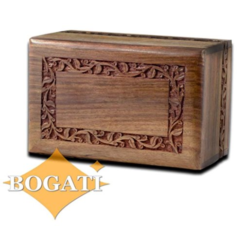 Hand Carved Rosewood Urn with Border Design - Adult by (Adult Urn)