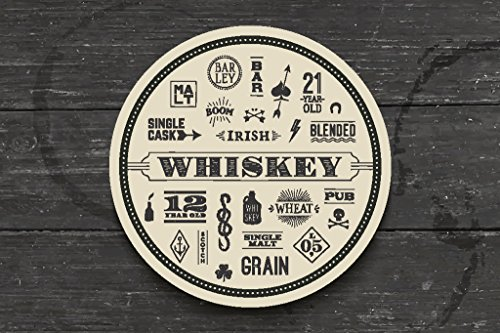 Types of Whiskey Coaster on Wooden Bar Photo Art Print Poster 18x12 inch ()