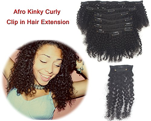 Remy Afro Kinky Curly Clip in Hair Extensions Double Weft Human Hair Brazilian Unprocessed Hair 7 Piece 16 Clips for African American Black Women