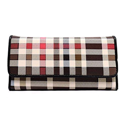 Check Plaid Clutch Wallet Trifold Checkbook Wallet Zip Around Wallet (Black (C))