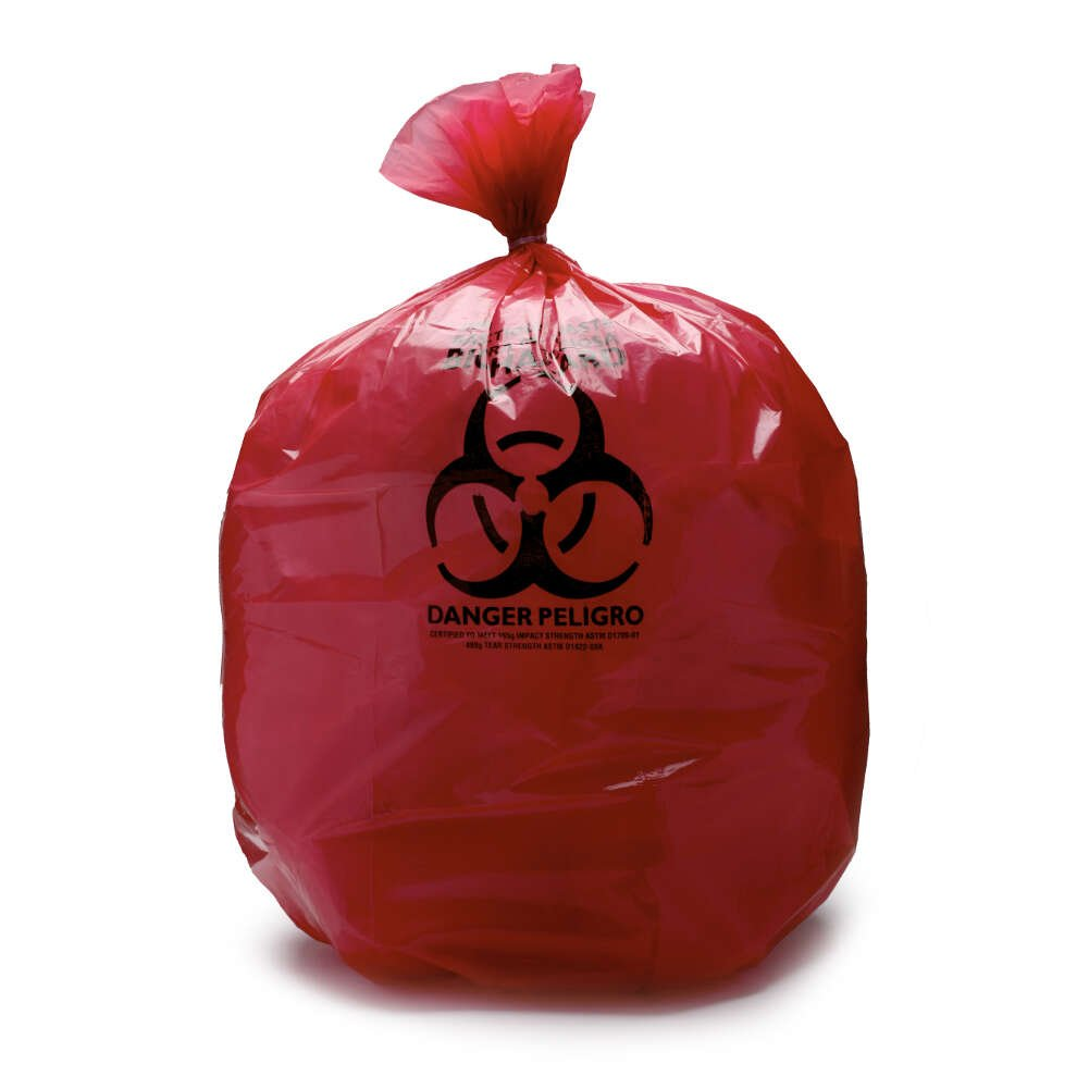 MediChoice Can Liner, Imprinted Infectious Waste, Plastic, 20-30 Gallon, 3 Mil, 30 Inch x 43 Inch, Red (Case of 100)