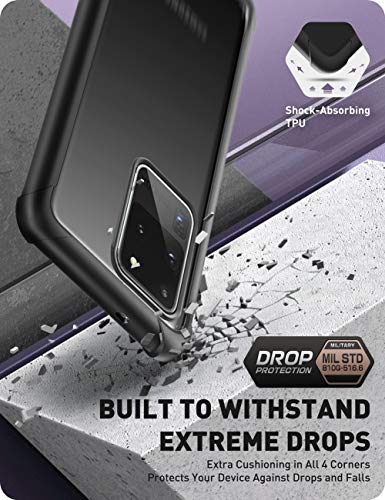 Clayco Forza Series Case for Samsung Galaxy S20 Ultra, Built-in Screen Protector Compatible with Fingerprint ID, Full-Body Rugged Cover, 6.9 inch, 2020 Release (Black)