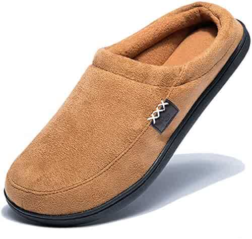 34e6980744fa NDB Men s Cozy Memory Foam Suede Plush Fleece Lined Slip On Indoor Outdoor  Clog House Slippers