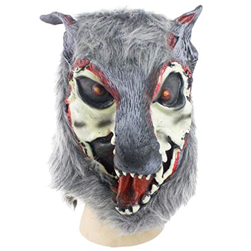 Respctful Horror Mask, Halloween Costume Party Cosplay Latex Werewolf Cosplay Accessory (Gray) -