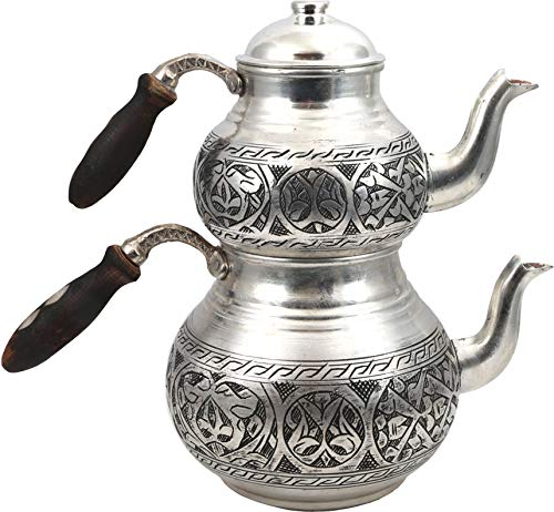 Handcrafted Copper Turkish Tea Pot Set, Tea Maker, Samovar, Ottoman Antique Handmade Tea Pot Kettle, Traditional Turkish Black Tea Maker-(TP-101)