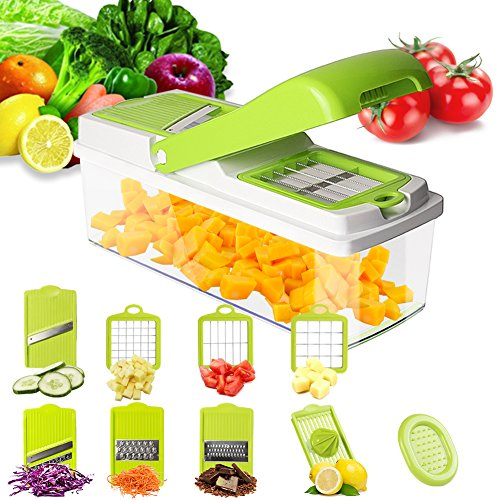 Mandoline Slicer Vegetable Slicer Chopper Dicer - Onion Cutter Chopper Pro - 8 Blades of Squeezer Julienne Slicer Grater -Kitchen Cutter for Multi Veggie, Food, Potato, Tomato, Cucumber, Cheese, Fruit
