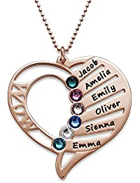 Engraved Mom Necklace Swarovski Birthstones-Personalized Heart Pendant- Gift Jewelry Up to 6 Names