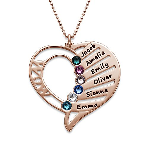 Engraved Mom Necklace Made with Swarovski Crystals-Heart Pendant Rose Gold Plated