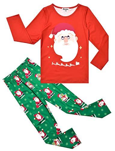 Jxstar Girls Christmas Pajamas Set Toddler Pjs Kids Cotton Santa Sleepwear