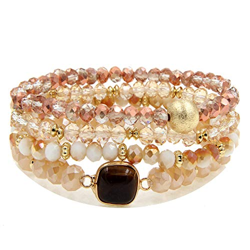 YUJIAXU Gold Beaded Bracelet Set, Square Stone Hexagon Druzy Stretch Beaded Stackable Bracelets Bangles GD
