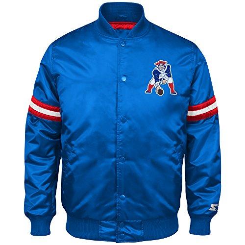 NFL New England Patriots Men's Retro Satin Full Snap Jacket, Medium, Royal