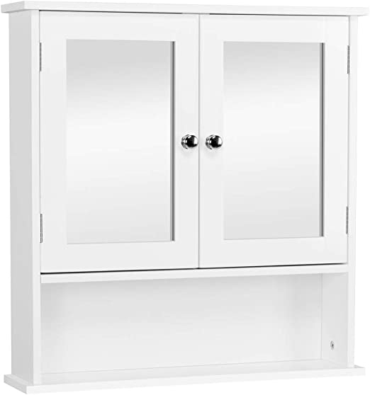 White Wood Wall Mounted Double Door Kitchen Bathroom Storage Cabinet Cupboard
