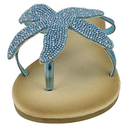Ladies Blue Toe Sandals Post Savannah Beaded Starfish BW0xnFzq