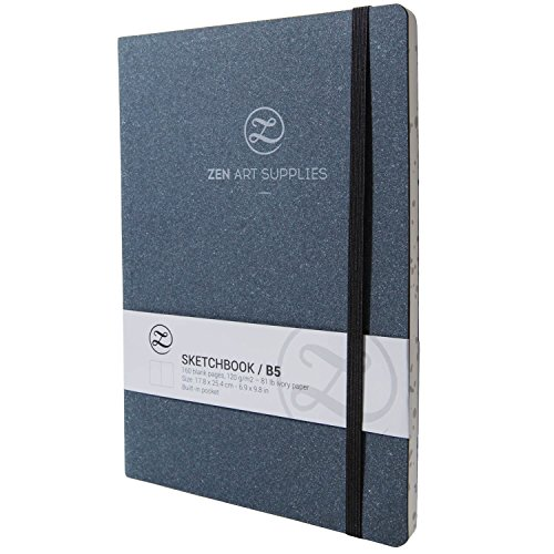 ZenArt's B5 (7x10) Sketchbook Journal - Durable Engineered Leather Cover, 160 Blank Pages of Smooth 120 GSM Acid-Free Ivory Paper, Inner Pocket, 2 Bookmarks & Elastic Band