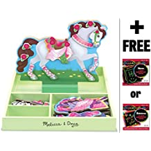 My Horse Clover - Magnetic Dress Up Wooden Doll & Stand + FREE Melissa & Doug Scratch Art Mini-Pad Bundle