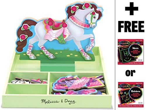 My Horse Clover - Magnetic Dress Up Wooden Doll & Stand + FREE Melissa & Doug Scratch Art Mini-Pad Bundle -