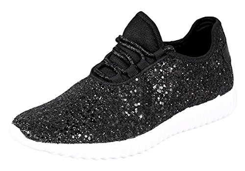Forever Link Womens Closed Round Toe Sparkling Glitter Lace Up Fitness Trainer Gym Fashion Sneakers 10 Black