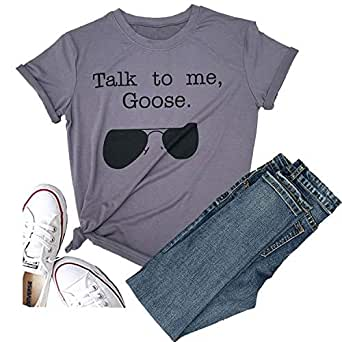 Hellopopgo Talk to Me Goose Sunglasses Funny Soft T-Shirt Women's Casual Short Sleeve Tops Tee for Sport, Mama Life - Grey - Small