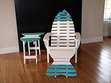 Poly Fish Adirondack Chair With Ottoman And Side Table12 Colors   Lime  Green   Amish Made