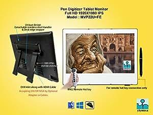 Yiynova MVP22U+FE Full HD Tablet Monitor,IPS Panel, With 5V3A USB, Detachable Cables with USB,DVI/HDMI connectors.(Mac, Windows, Linux)(Yiynova Cloud PC Ready)