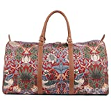 Red Floral William Morris Strawberry Thief Carry-on Overnight Weekender Duffel Travel Bag by Signare (BHOLD-STRD)