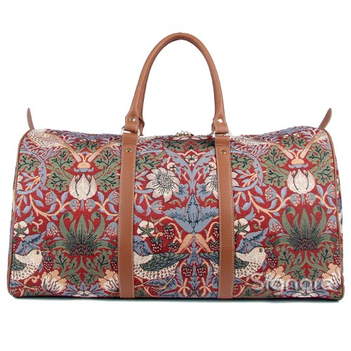 Red Floral William Morris Strawberry Thief Carry-on Overnight Weekender Duffel Travel Bag by Signare (BHOLD-STRD)]()