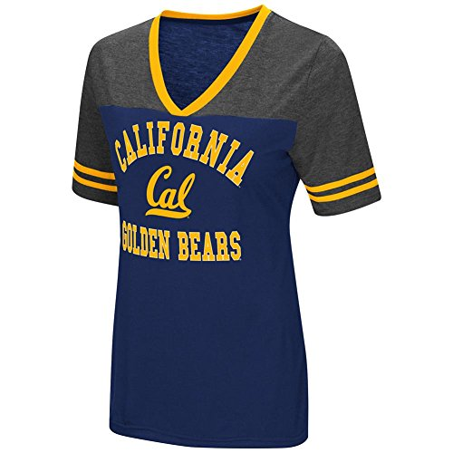 Cal College Football - Ladies Cal Golden Bears Smaller Fit Whole Package Synthetic V Neck T Shirt (XL=12/14)