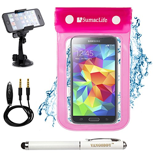 SumacLife Waterproof Bag Dry Pouch Case for Apple iPhone 6 / 6s / 5 / 5s / 5c with Windshield Mount & Auxiliary, Pink