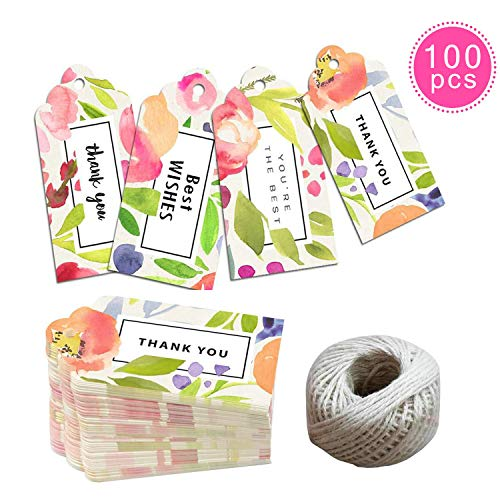 (EHME Gift Tags Set - 100pcs Watercolor Floral Wedding Favor Tags, Thank You Tags in Party, Birthday All Occasions, with 100 feet Jute Twine Strings)