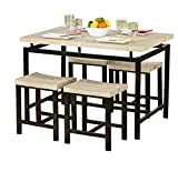 Eat in Kitchen Table Dining Table and Chair Set in Amazing Classic Natural Finish - This Stylish 5 Piece Kitchen or Dining Room Furniture Is Sturdy and Durable - Great Accent Decor for Your Home - Satisfaction Guaranteed!