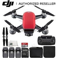 DJI Spark Portable Mini Drone Quadcopter (Lava Red) + DJI Spark Remote + Bag Ultimate Bundle
