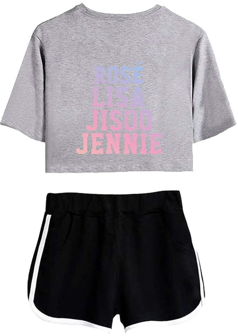 EMILYLE Womens Kpop Blackpink Concert Tracksuits Two Piece Sportswear Clothing Set Jisoo Jennie Rose Lisa