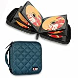 BUBM Padded 32 Capacity CD DVD Carrying Wallet For Car, Home, Office and Travel (Dark Blue)