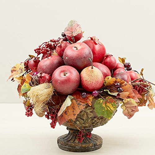 Grapevine Pedestal (Artificial Autumn Leaf and Mixed Fruit In Tuscan Style Pedestal Bowl)