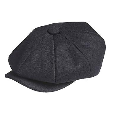 61a480488869 TOSKATOK Unisex Mens Ladies Plain 8 Panel Wool Blend Baker Boy Newsboy Flat  Cap Black