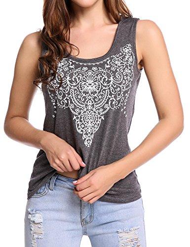 Street Womens Tank (Soteer Women's Summer Sleeveless Street Printed T Shirt Tank Tops Graphic Tees Gray M)