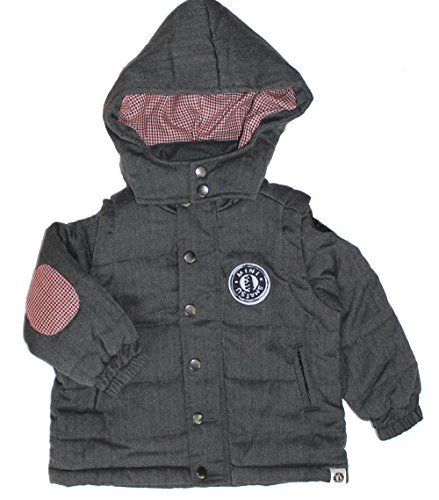[Mini Shatsu Little Boys' Herringbone Hooded Puff Vest/Jacket (c) S(2-3 Years)] (Mini Puff Jacket)