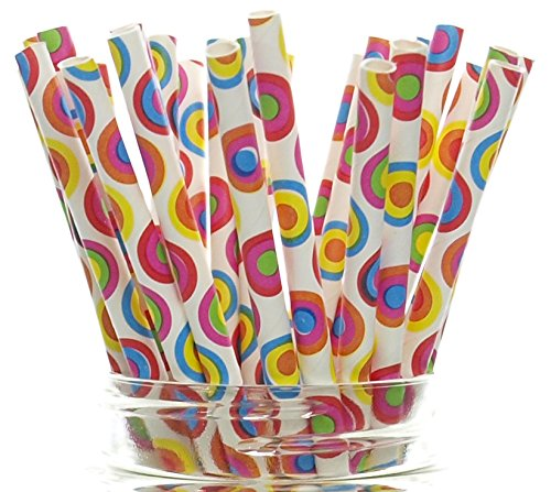 Circus Party Straws, Circle Polka Dots (25 Pack) - 60's Psychedelic Hippie Tye Dye Pattern Paper Straws, 70's Disco Party Supplies, Carnival Print Drinking Straws - 70s Hippie Dress