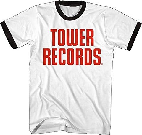 Tower Records - Vintage Stack Logo - Adult Ringer T-Shirt - Large - Records Vintage T-shirt