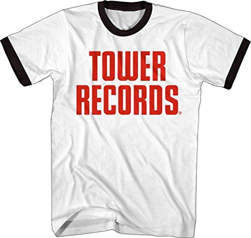 Tower Records - Vintage Stack Logo - Adult Ringer T-Shirt - Medium