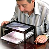 New Foldable Desk A4 Full Page Large Reading Magnifier with 4 LED Lights Ultra-thin Lens Stand 3X Desktop Magnifying Glass