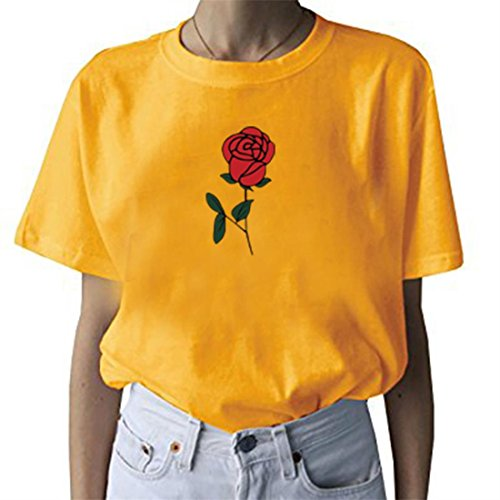 Rose Yellow T-shirt - BLACKMYTH Women's Cute Graphic T shirt Rose Tops Teen Girl Tees Yellow X-Large