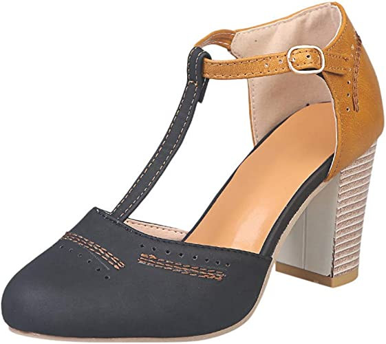 Mary Janes Blue Summer Low Heel Vintage Women Shoes | Women