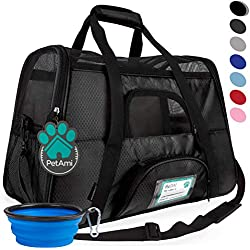 PetAmi Premium Airline Approved Soft-Sided Pet Travel Carrier | Ventilated, Comfortable Design with Safety Features | Ideal for Small to Medium Sized Cats, Dogs, and Pets (Large, Black)