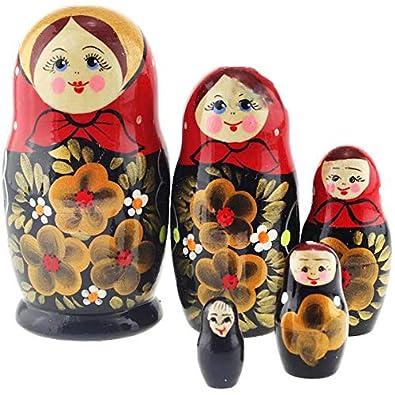 Holz Babuschka Matroschka Матрёшка Matröschka Puppe russisch Puppen & Zubehör Matrjoschka 3 tlg