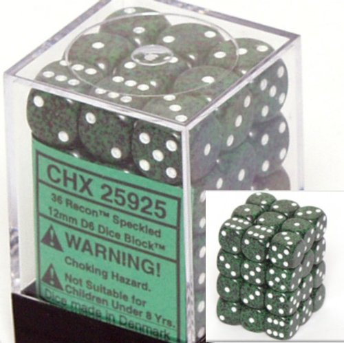Chessex D6 Speckled - Chessex Dice d6 Sets: Recon Speckled - 12mm Six Sided Die (36) Block of Dice