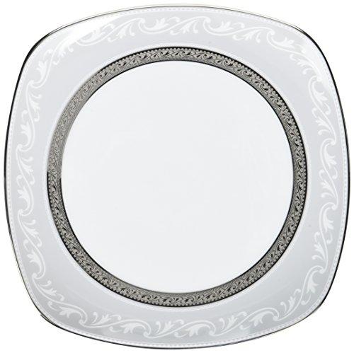Noritake Crestwood Platinum 8-3/4-Inch Square Luncheon Plate (Platinum Square Luncheon Plate)